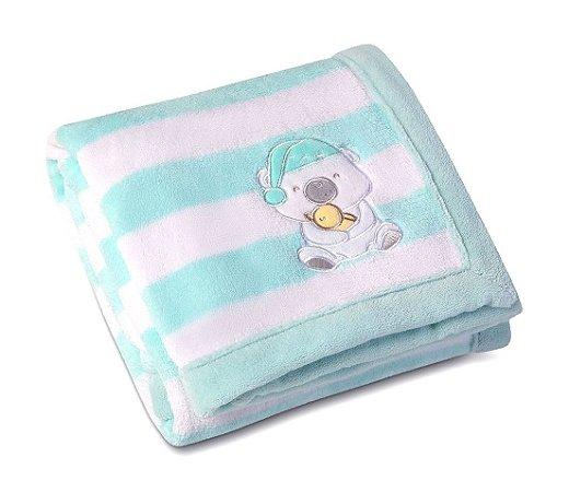 Manta Bebê Fleece Bordada Estampada Mini Ursinho Azul - Lepper