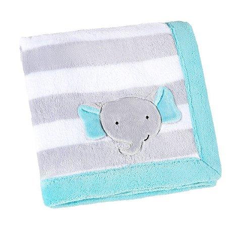 Manta Bebê Fleece Bordada Mini Elefantinho Azul - Lepper
