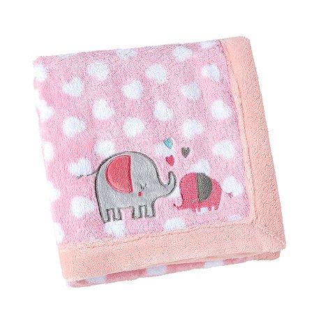Manta Bebê Fleece Bordada Mini Elefantinha Rosa - Lepper