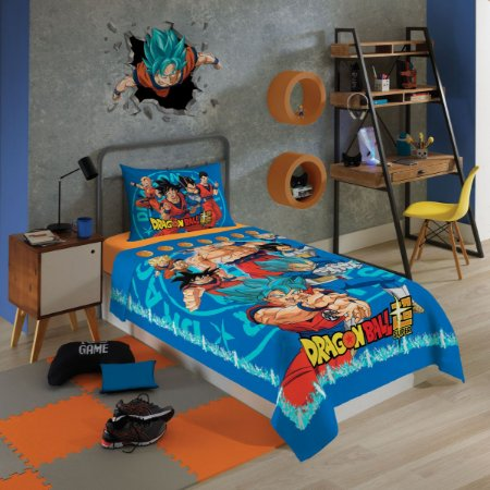 Jogo de Cama Infantil Dragon Ball 3 Pçs 1,50m x 2,10m - Lepper