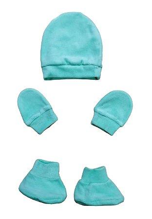 Kit Bebê 3 Pçs Plush Verde Com Touca Luva e Sapatinho