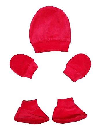 Kit Bebê 3 Pçs Plush Vermelho Com Touca Luva e Sapatinho