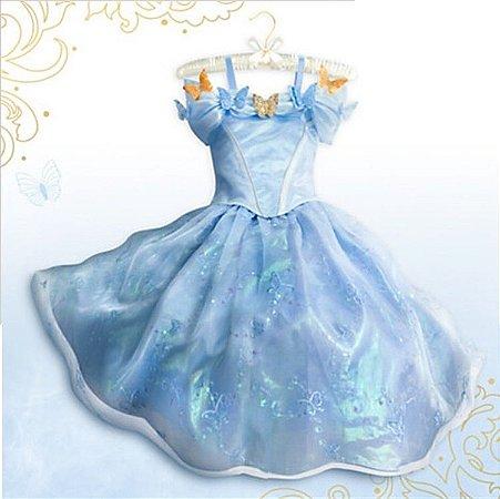 Vestido Fantasia Infantil Cinderela Azul Claro