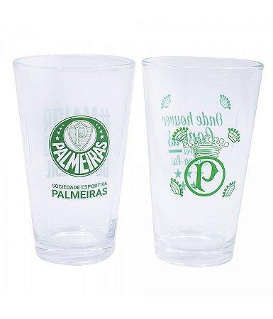 Jogo Com 2 Copos de Vidro Palmeiras 475ml Oficial