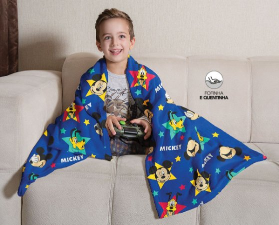 Mantinha Fleece de Sofa Infantil Mickey Lepper