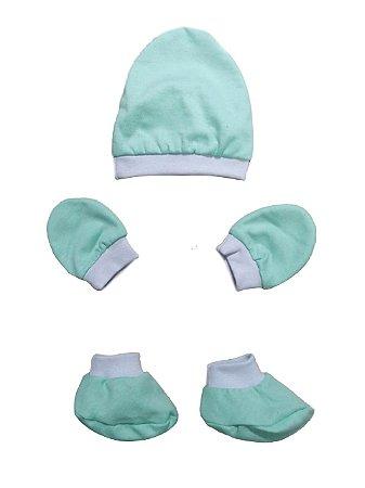 Kit Bebê 3 Pçs Malha Verde Com Touca Luva e Sapatinho
