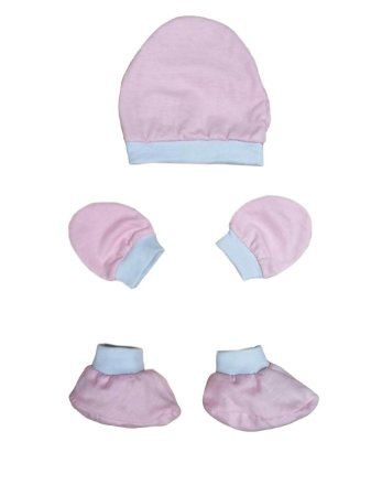 Kit Bebê 3 Pçs Malha Rosa Com Touca Luva e Sapatinho