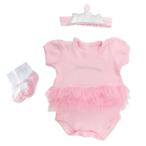 Kit Bebê Princesa 3 Peças Presente Zip 0 a 3 Meses