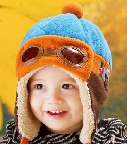Touca Bebê Piloto Aviador Azul/Laranja
