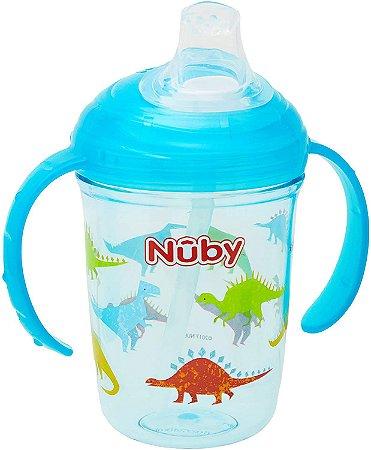 Copo Infantil Com Alça e Bico de Silicone Tritan Azul Nûby