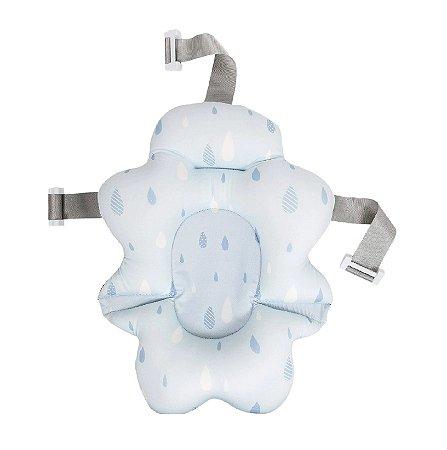 Almofada Para Banho Bebê Com Fivela Ajustável Azul Buba