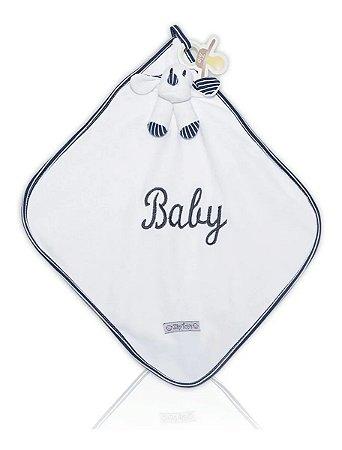 Naninha Bebê Cetim Com Ursinho Listrado Azul Zip