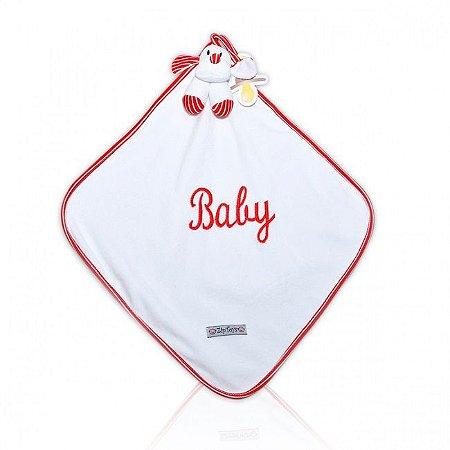 Naninha Bebê Cetim Com Ursinho Listrado Vermelho Zip