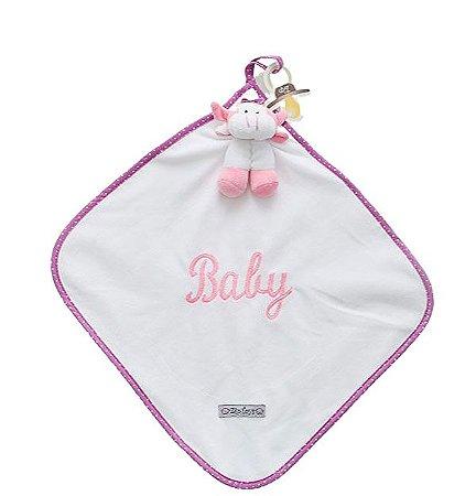 Naninha Bebê Cetim Vaquinha Rosa Zip