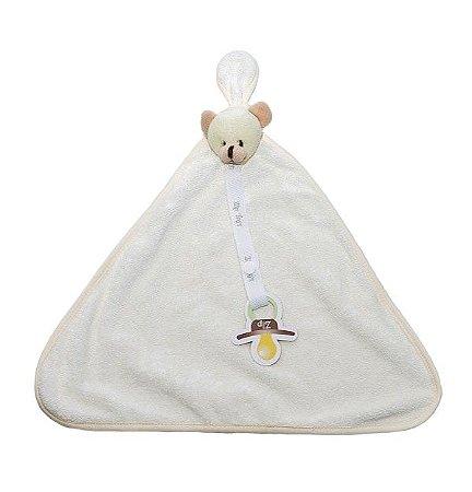 Naninha Bebê Atoalhada Ursinho Marfim Com Prendedor Zip