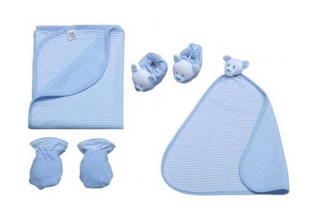 Kit Bebê Com 4 Pçs Dupla Face Listrado Azul Zip