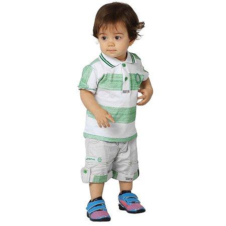 Conjunto Bebê/Infantil Palmeiras Polo e Bermuda Oficial