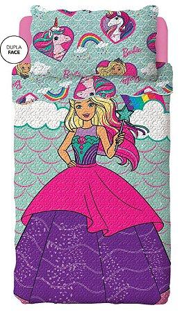 Colcha Dupla Face Infantil Reinos Mágicos Barbie Lepper