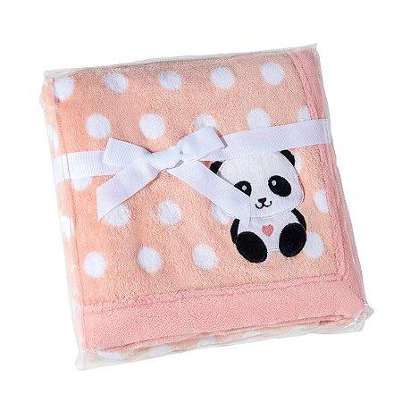 Manta Bebê Fleece Bordada Estampada Mini Rosa - Lepper