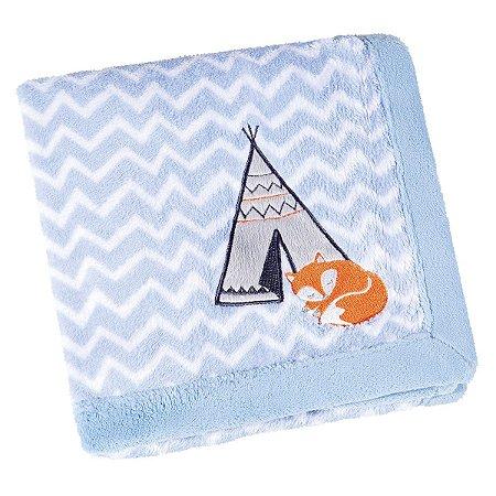 Manta Bebê Fleece Estampada Bordada Raposa Azul Mini - Lepper
