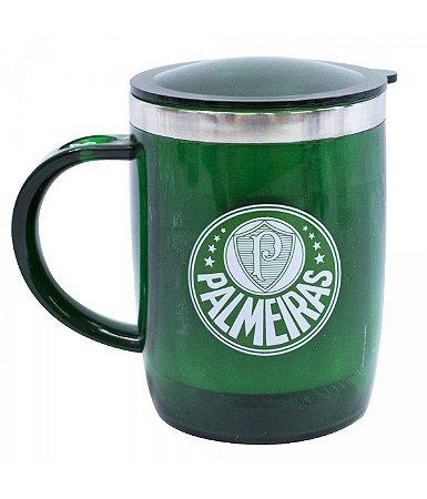 Caneca Térmica Com Tampa Palmeiras Verde 450ml