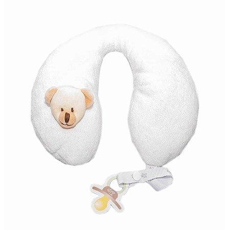 Protetor de Pescoço Urso Bege com Prendedor de Chupeta Zip