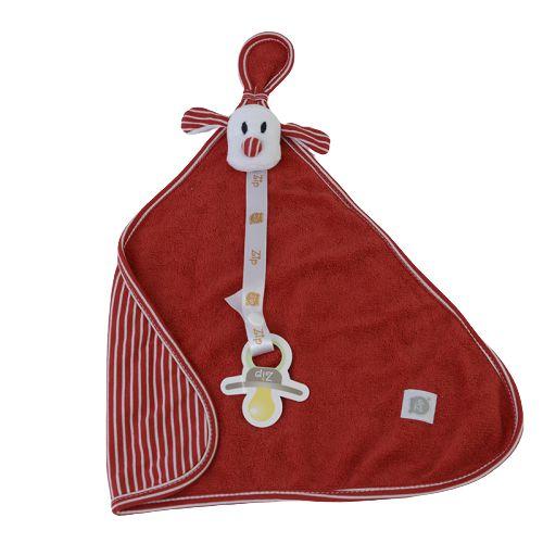Naninha Bebê Atoalhada Vermelho Listrado Com Prendedor Zip