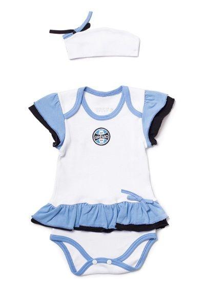 Body Vestido Bebê Grêmio com Tiara Oficial