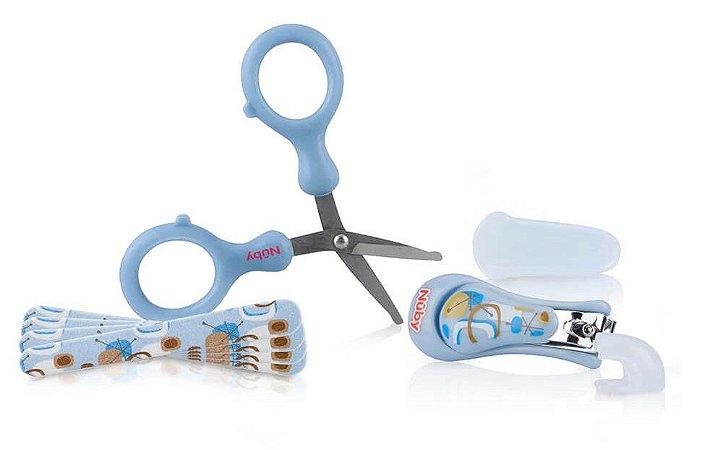 Kit Manicure Infantil Com 6 Pçs Azul Nuby