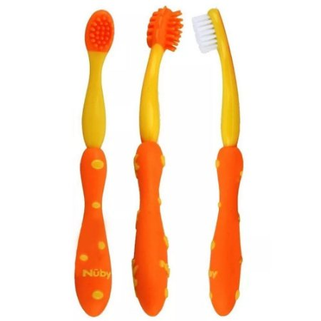 Kit Cuidado Oral Infantil 3 Estágios Laranja Nuby