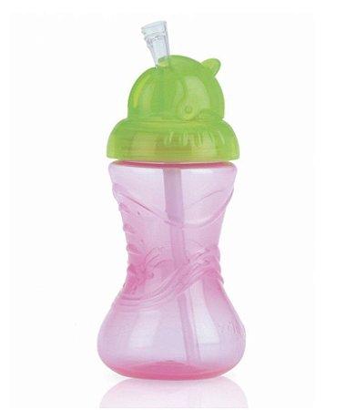 Copo Infantil Com Canudo Silicone Rosa 300ml Nuby