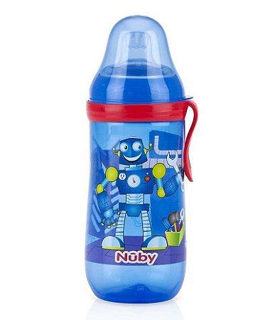 Garrafinha Infantil Bico De Silicone Azul 360ml Nuby