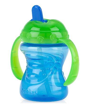 Copo Infantil Com Alça E Bico Rigido Retratil Azul Nuby
