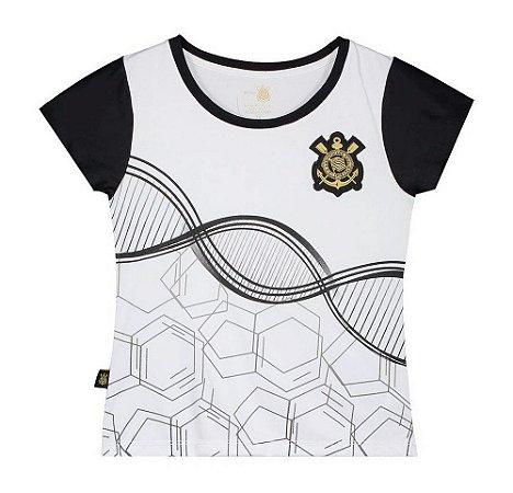 Camiseta Infantil Corinthians Baby Look Branca DNA Oficial