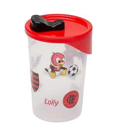 Copo Flamengo Plástico Transparente Com Tampa Lolly 350ml