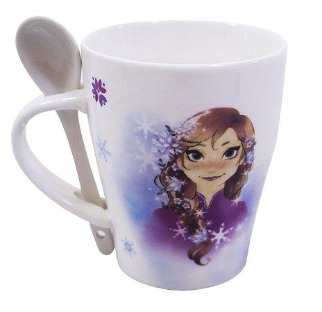 Caneca De Porcelana Com Colher Anna & Elsa Frozen 310ml