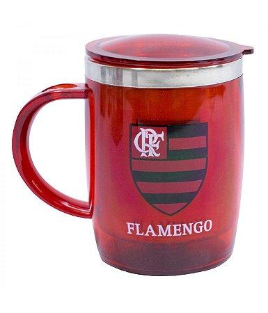 Caneca Térmica Com Tampa Flamengo Vermelha 450ml