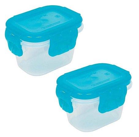 Kit 2 Potinhos Tampas Herméticas Azul Buba
