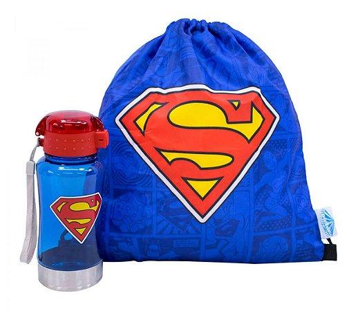 Kit Garrafa 450Ml Com Mochila Superman - Oficial