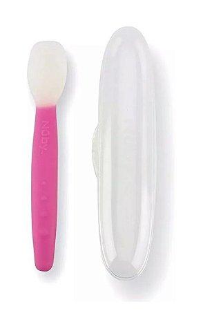 Colher de Silicone Rosa Com Estojo - Nuby