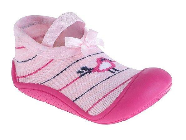 Meia Bebê Com Sola Passarinho Rosa - Pimpolho