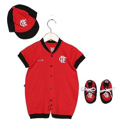 Kit Macacão Bebê Flamengo com 3 Peças Oficial