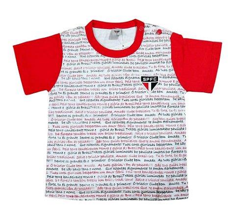 Camiseta Bebê São Paulo Hino Manga Curta Oficial