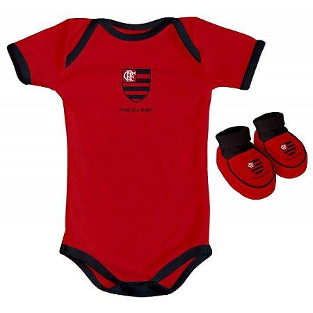 Body e Pantufa Flamengo Vermelho Torcida Baby