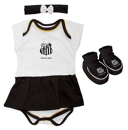Kit Bebê Santos 3 Peças Menina Torcida Baby