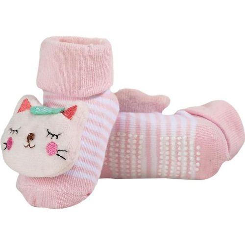Meia Bebê Antiderrapante Com Chocalho Gatinho