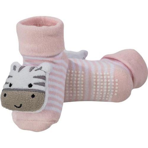 Meia Bebê Antiderrapante Com Chocalho Zebrinha Rosa