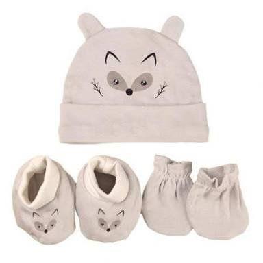 Kit Bebê 3 Pçs Raposinha Com Touca Luva e Meia