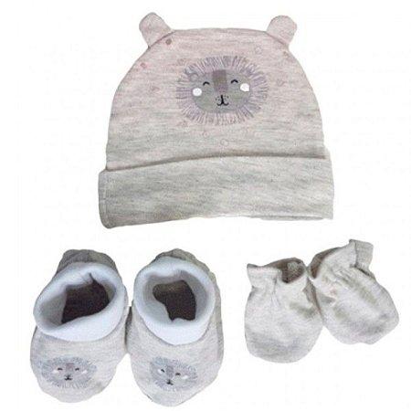 Kit Bebê 3 Pçs Leãozinho Com Touca Luva e Meia
