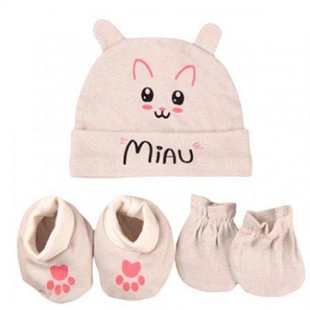 Kit Bebê 3 Pçs Gatinha Com Touca Luva e Meia